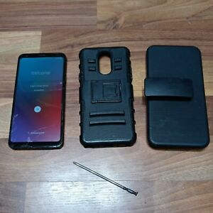 LG Stylo 4 Q710AL Boost Mobile, Black Factory Reset Cracked Screen w/Pen & Case