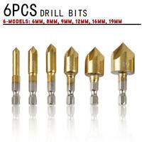 New 6Pcs/Set 90°Hex 5 Flute Drill Bit Set 6-19mm Counter Sink Chamfer Cutter