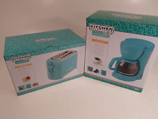 Pair Kitchen Selectives 5 Cup Coffee Pot Maker and Toaster Blue Teal Turquoise