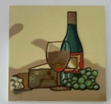 Wine Bottle Glass Cheese Grapes Decorative Ceramic Wall Art Tile 8x8 New