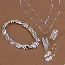 925Sterling Silver Gold Feather Bracelet Earrings Rings Necklace Jewelry Sets