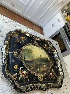 Vintage Huge TOLE TRAY England Windsor Castle Queen Mary The Royal Collection
