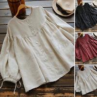 ZANZEA 8-24 Women Summer Peplum Bodydoll Top Tee Blouse Basic Button Down Shirt