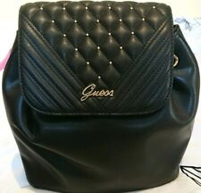 Guess Noelan Backpack Black With Gold Quilted Bnwt Pu Leather Drawstring Ladies
