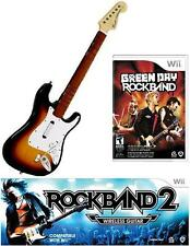 NEW Nintendo Wii Rock Band 2 Wireless Sunburst Guitar & RockBand Green Day RARE