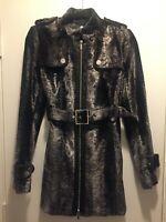 BEAUTIFUL! KAREN MILLEN Grey /Silver Faux Pony Fur Short Trench Coat, US 6/UK 10