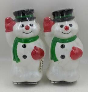 2 NEW Christmas Snowman Outdoor Pathway Blow Mold Lights Toro General Foam