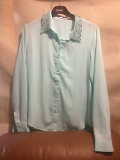 FOREVER 21 BLING COLLAR SHIRT/ BLOUSE  SZ SMALL WOMENS FREE POST (F15) RACE DAY