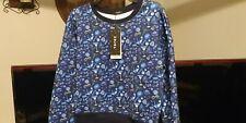 Terez Printed Scuba Sweatshirt Women's Blue size Sm Brand New Nwt Msrp $126.00