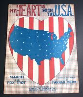 1915 Original Sheet Music Patriotic Americana My Hearts With The USA Awesome WWI
