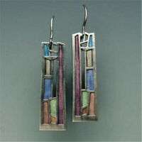Multi-Color Gemstones Earrings 925 Silver Ear Hook Drop Dangle Party Jewelry