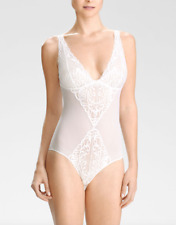 Natori Women's White Feathers Bodysuit Sz M 2925