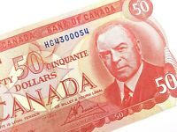 1975 Canada 50 Fifty Dollar Uncirculated HC Prefix Lawson Bouey Banknote R206