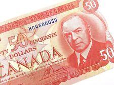1975 Canada 50 Fifty Dollar Uncirculated HC Prefix Lawson Bouey Banknote R206