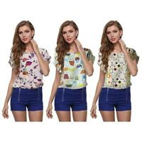 Fashion Women Short Sleeve Chiffon Print Casual Summer Tees Blouse T-Shirts Tops