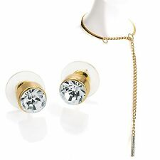 Le donne collare collana a catena d'oro cristallo gioielli ciondolo Girocollo + Orecchini Set