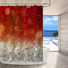 Red and Silver with Light Spots Shower Curtain Bathroom Decor Bath Mat 72X72''