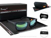 Rennec Herren Sonnenbrille Carbon Schwarz Blau Türkis Verspiegelt Nerd 14CB BOX