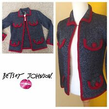 BETSEY JOHNSON Red Pocket Metallic Military Jacket Wool Cardigan Sweater Coat S