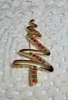 Vintage Rhinestone Zig Zag Ribbon Christmas Tree Brooch Pin Gold Tone   C14