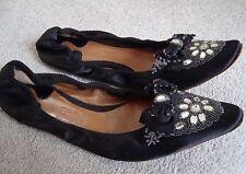 "AUTH Chloe ""noir Satin Embelli Ballerine Plate Chaussures Taille 37.5"