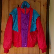 "Obermeyer Vintage ""Joanna"" Red, Turquoise & Purple Insulated Coat, Ladies 12"