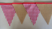 Red Gingham & Hessian Fabric Bunting Birthday Party decoration Gift Homemade