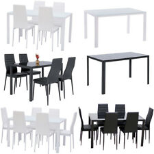 Tempered Glass Top Dining Table Chair Set Black/White 4/6 Kitchen Leather Chairs