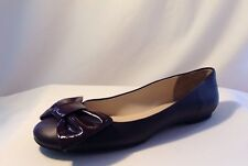 $225 Delman Wave Bordeaux Nappa  Leather Flats Patent Bow Toe