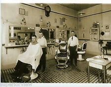 Vintage Barber Shop Interior Three Chairs Old Time Barbers Marble Sink 1920