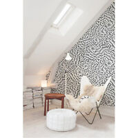 Black Floral removable Wallpaper white mural Self Adhesive Peel & Stick