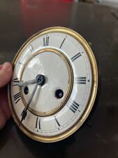 Antique German Wall Clock Movement Parts Enamel Dial & Hands