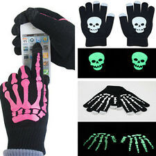 New Mens Knitted Skull Pattern Touch-Screen Warm Gloves Noctilucence Phone PC