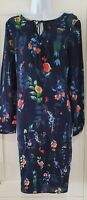 Womens Per Una Blue Floral Tie Neck Loose Fit Long Sleeve Two Part Dress 12 New.