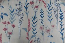 """JOHN LEWIS FABRIC DESIGN """"Longstock"""" 1.8 METRES BLUE AND RED COTTON BLEND"""
