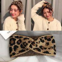 Women Winter Warmer Leopard  Wide Headband Hairband Wrap Bands Turban Hair