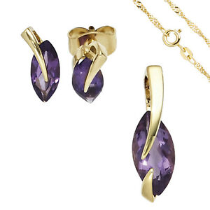 Jewelry Set 585 Yellow Gold 3 Amethyst Purple Violet Earrings and Chain 45 CM