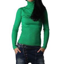 Damen Rollkragenpullover Rollkragen Pullover Pulli Rolli dunkelgrün Neu 32-36