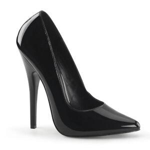 Devious DOMINA-420 Women's Single Soles Black Patent Classic Pump High Heels