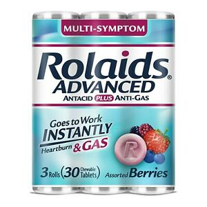Rolaids Antacid Plus Anti-Gas, Assorted Berries, 30 Chewable Tablets *EXP 03/20