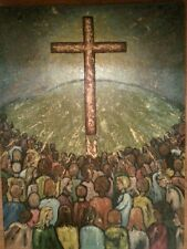 Vintage 70s Christian Movement Impressionism Painting signed Oil 1970 Painterly