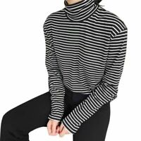 Autumn Women Casual Striped Blouse Long Sleeve Tops Turtleneck T-shirt Tee Shirt