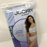 Jockey Elance Size 8 French Cut Classic Cut Panty 3 Pair Solid Print  New
