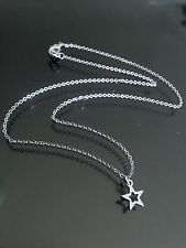 """Silver Star Necklace--All Stainless Steel--Tiny Charm on 15"""" Chain Choker Length"""