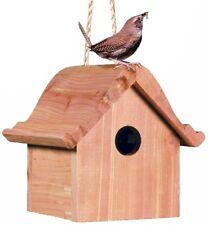 Wooden Birdhouse Home House Bird Cedar Hanging Rope Wren Dutch Style Pet Garden