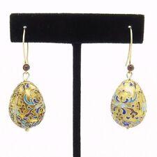 Vintage 925 Gold Tone Sterling Silver Enamel Victorian Egg Ruby Cross Earrings