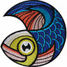 Fish Patch Iron On / Sew On Clothes Biker Motorbike Motorcycle Embroidered Badge