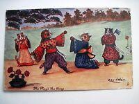 """Vintage """"TUCK"""" Postcard by """"Louis Wain"""" w/ Cats Dressed in Kimono's Fighting *"""