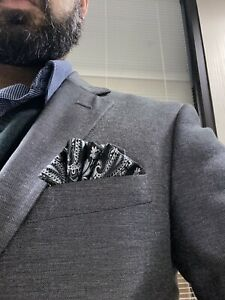 POCKET SQUARE  -Custom pre-folded & Sewn - just slips in pocket &stays In Place.