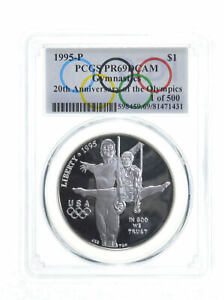 1995 Gymnastics Olympic $1 Silver Commemorative PR69 Spl Lbl 1 of 500 PCGS *0155
